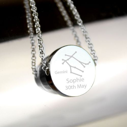Personalised Gemini Zodiac Star Sign Silver Tone Necklace
